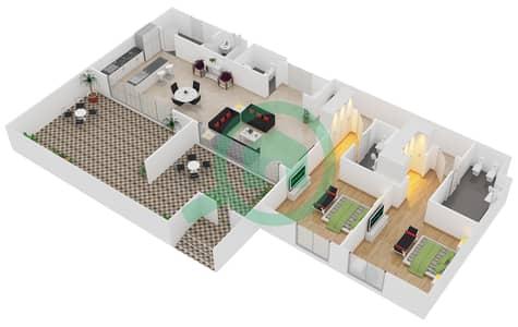 المخططات الطابقية لتصميم النموذج / الوحدة A1/G01 شقة 2 غرفة نوم - منتجع شاطئ نكي