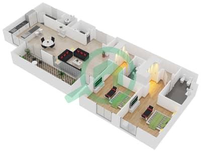 المخططات الطابقية لتصميم النموذج / الوحدة A1/101, 201 شقة 2 غرفة نوم - منتجع شاطئ نكي