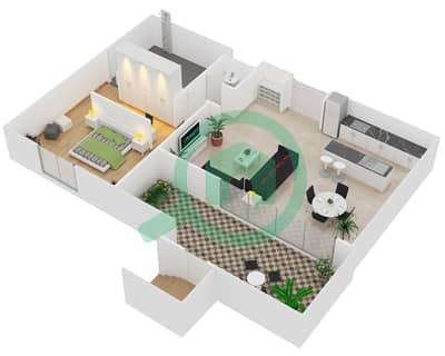 المخططات الطابقية لتصميم النموذج / الوحدة A/G01 شقة 1 غرفة نوم - منتجع شاطئ نكي
