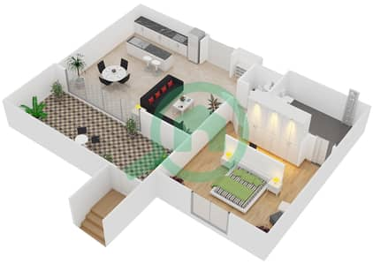 المخططات الطابقية لتصميم النموذج / الوحدة A/G02 شقة 1 غرفة نوم - منتجع شاطئ نكي
