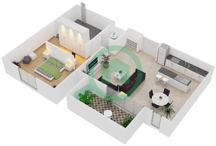 المخططات الطابقية لتصميم النموذج / الوحدة A/101 شقة 1 غرفة نوم - منتجع شاطئ نكي