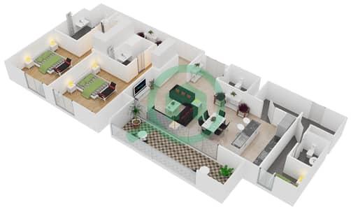 المخططات الطابقية لتصميم النموذج / الوحدة A/101,202,302,205,304,404 شقة 2 غرفة نوم - منتجع شاطئ نكي