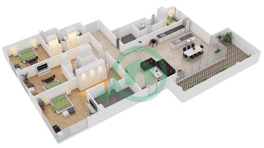 المخططات الطابقية لتصميم النموذج / الوحدة A/106 شقة 3 غرف نوم - منتجع شاطئ نكي