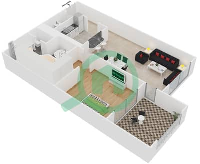 Golden Mile - 1 Bedroom Apartment Type E Floor plan