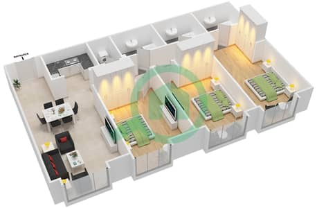 21st Century Tower - 3 Bedroom Apartment Type A Floor plan