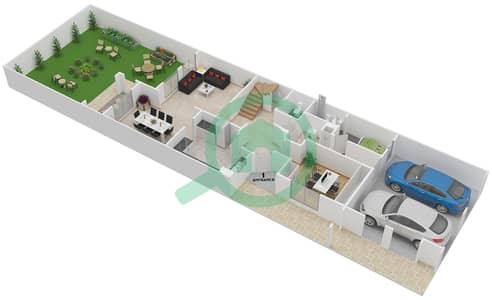 المخططات الطابقية لتصميم النموذج 1M فیلا 3 غرف نوم - الينابيع 14