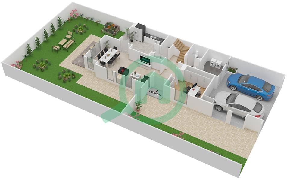 المخططات الطابقية لتصميم النموذج 3E فیلا 3 غرف نوم - الينابيع 10 Ground Floor image3D