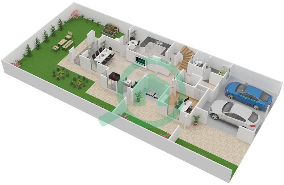 المخططات الطابقية لتصميم النموذج 2E فیلا 3 غرف نوم - الينابيع 10 Ground Floor image3D