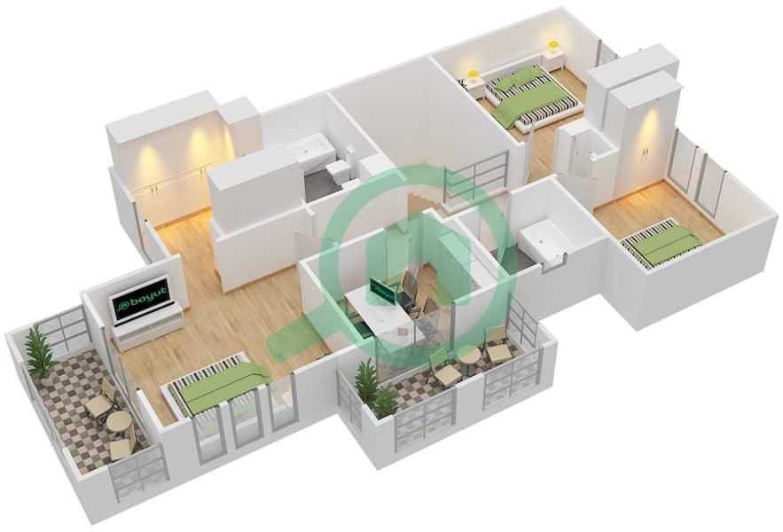 المخططات الطابقية لتصميم النموذج 2E فیلا 3 غرف نوم - الينابيع 10 First Floor image3D