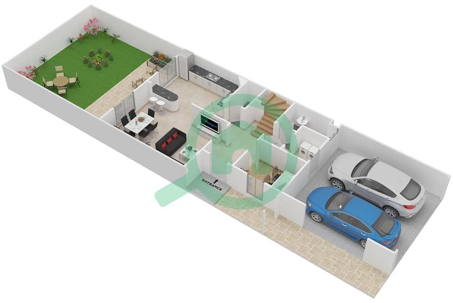 المخططات الطابقية لتصميم النموذج 4M فیلا 2 غرفة نوم - الينابيع 10 Ground Floor image3D