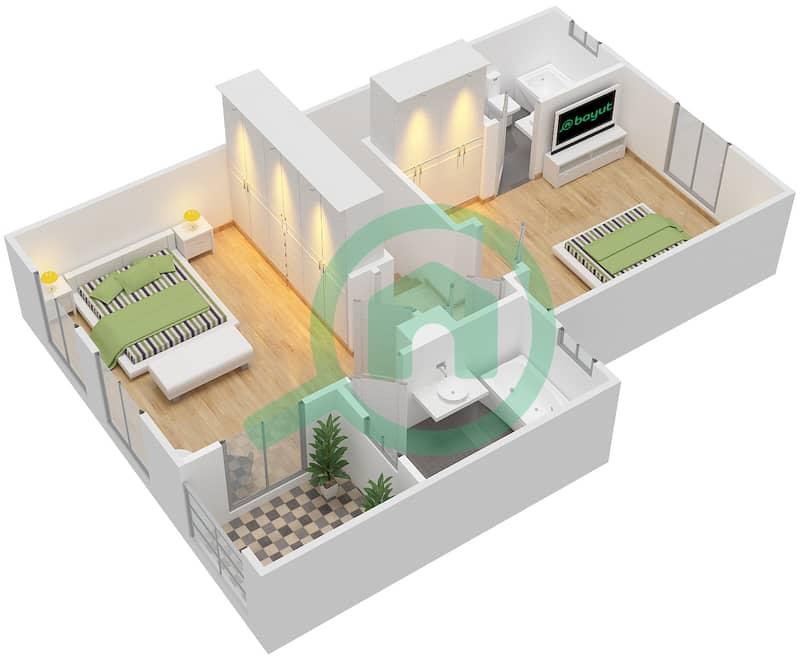 المخططات الطابقية لتصميم النموذج 4M فیلا 2 غرفة نوم - الينابيع 10 First Floor image3D