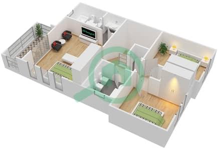 المخططات الطابقية لتصميم النموذج 3EL فیلا 3 غرف نوم - الينابيع 8