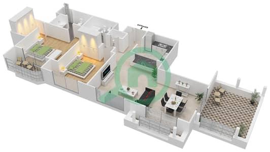 المخططات الطابقية لتصميم التصميم 61 شقة 2 غرفة نوم - تانارو