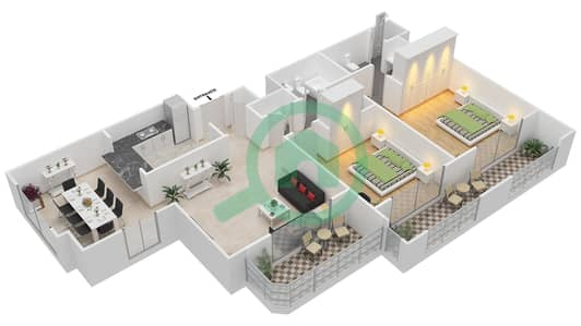 المخططات الطابقية لتصميم التصميم 60 شقة 2 غرفة نوم - تانارو