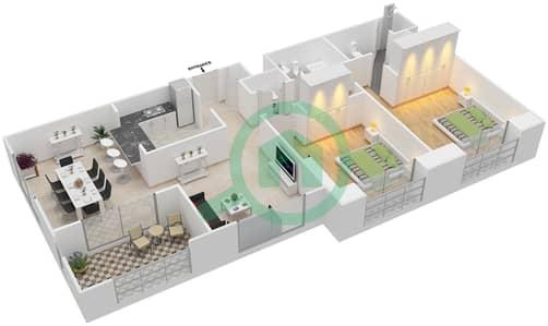 المخططات الطابقية لتصميم التصميم 59 شقة 2 غرفة نوم - تانارو