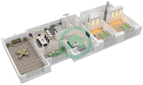 المخططات الطابقية لتصميم التصميم 58 شقة 2 غرفة نوم - تانارو
