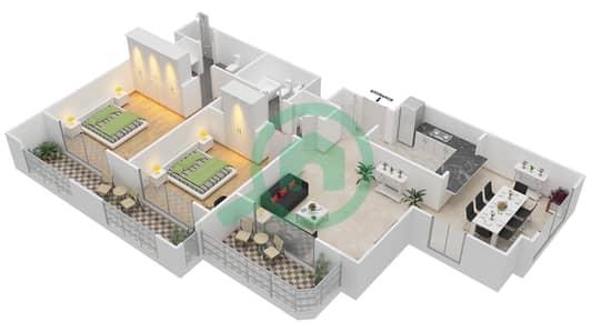 المخططات الطابقية لتصميم التصميم 57 شقة 2 غرفة نوم - تانارو