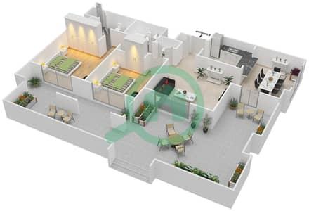 المخططات الطابقية لتصميم التصميم 56 شقة 2 غرفة نوم - تانارو