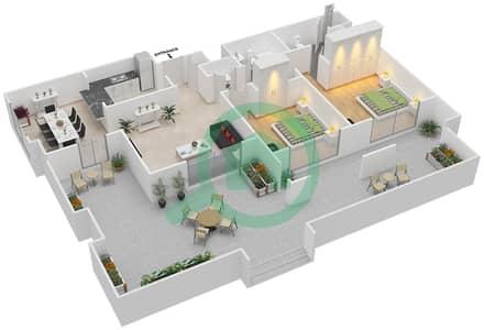 المخططات الطابقية لتصميم التصميم 54 شقة 2 غرفة نوم - تانارو