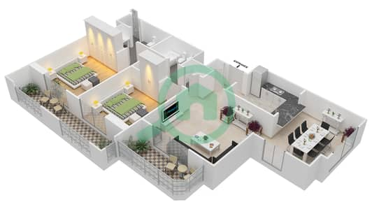 المخططات الطابقية لتصميم التصميم 49 شقة 2 غرفة نوم - تانارو