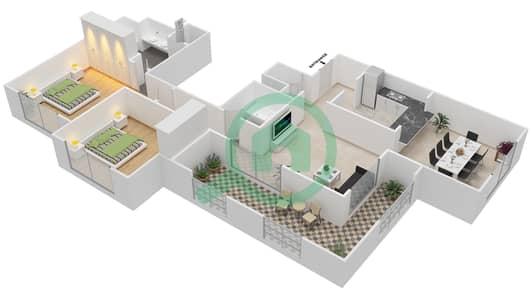 المخططات الطابقية لتصميم التصميم 48 شقة 2 غرفة نوم - تانارو