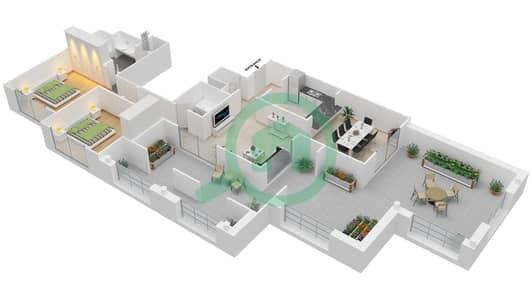 المخططات الطابقية لتصميم التصميم 47 شقة 2 غرفة نوم - تانارو