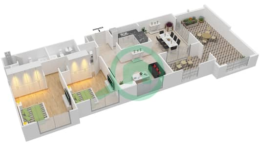 المخططات الطابقية لتصميم التصميم 45 شقة 2 غرفة نوم - تانارو