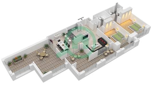 المخططات الطابقية لتصميم التصميم 44 شقة 2 غرفة نوم - تانارو
