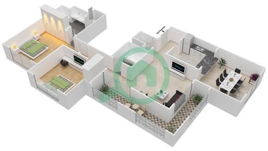 المخططات الطابقية لتصميم التصميم 43 شقة 2 غرفة نوم - تانارو