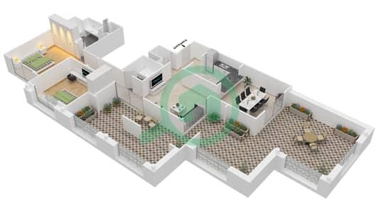 المخططات الطابقية لتصميم التصميم 42 شقة 2 غرفة نوم - تانارو