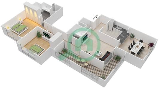 المخططات الطابقية لتصميم التصميم 41 شقة 2 غرفة نوم - تانارو