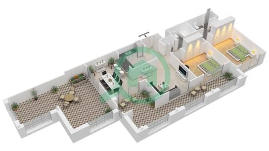 المخططات الطابقية لتصميم التصميم 40 شقة 2 غرفة نوم - تانارو