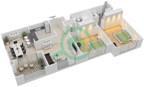 المخططات الطابقية لتصميم التصميم 39 شقة 2 غرفة نوم - تانارو