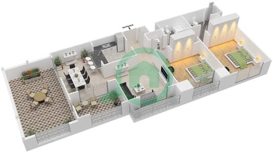 المخططات الطابقية لتصميم التصميم 38 شقة 2 غرفة نوم - تانارو