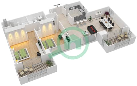 المخططات الطابقية لتصميم التصميم 37 شقة 2 غرفة نوم - تانارو