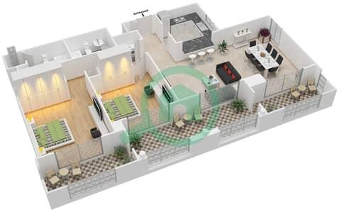 المخططات الطابقية لتصميم التصميم 35 شقة 2 غرفة نوم - تانارو