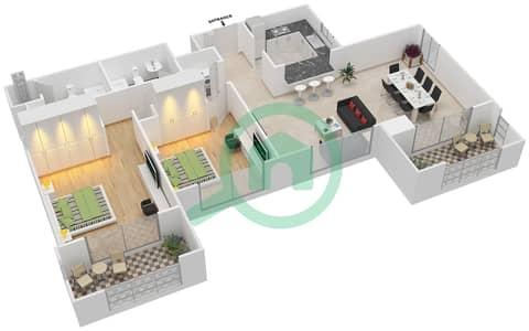 المخططات الطابقية لتصميم التصميم 34 شقة 2 غرفة نوم - تانارو
