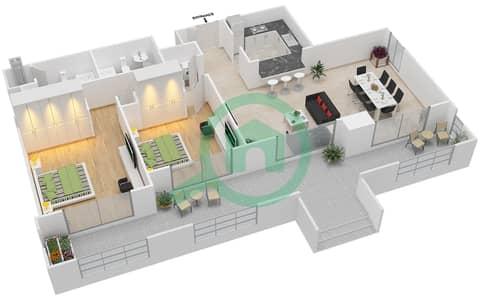 المخططات الطابقية لتصميم التصميم 33 شقة 2 غرفة نوم - تانارو
