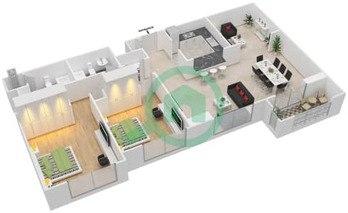 المخططات الطابقية لتصميم التصميم 31 شقة 2 غرفة نوم - تانارو