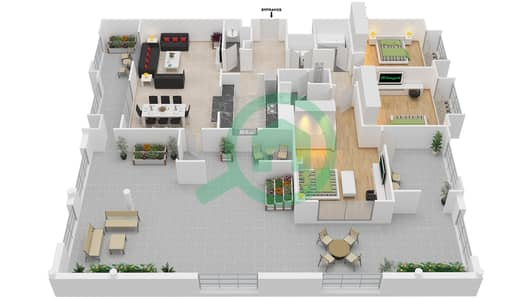 المخططات الطابقية لتصميم التصميم 30 شقة 3 غرف نوم - تانارو