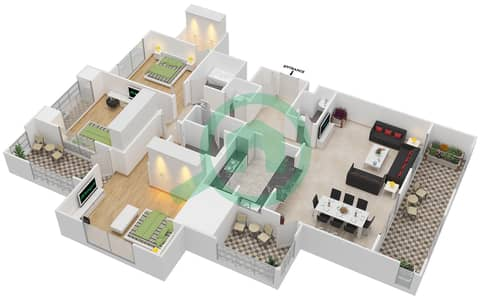 المخططات الطابقية لتصميم التصميم 29 شقة 3 غرف نوم - تانارو