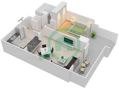 المخططات الطابقية لتصميم التصميم 27 شقة 1 غرفة نوم - تانارو