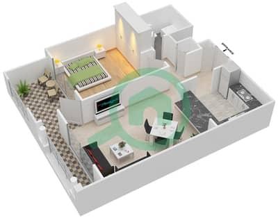 المخططات الطابقية لتصميم التصميم 25 شقة 1 غرفة نوم - تانارو