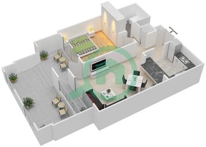 المخططات الطابقية لتصميم التصميم 22 شقة 1 غرفة نوم - تانارو