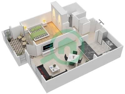 المخططات الطابقية لتصميم التصميم 20 شقة 1 غرفة نوم - تانارو