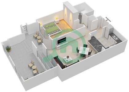 المخططات الطابقية لتصميم التصميم 19 شقة 1 غرفة نوم - تانارو