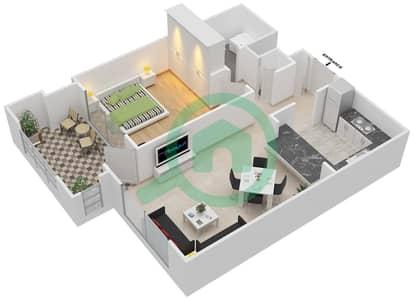المخططات الطابقية لتصميم التصميم 18 شقة 1 غرفة نوم - تانارو