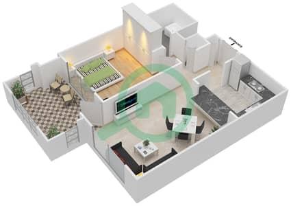 المخططات الطابقية لتصميم التصميم 17 شقة 1 غرفة نوم - تانارو