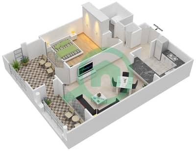 المخططات الطابقية لتصميم التصميم 16 شقة 1 غرفة نوم - تانارو