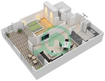 المخططات الطابقية لتصميم التصميم 15 شقة 1 غرفة نوم - تانارو